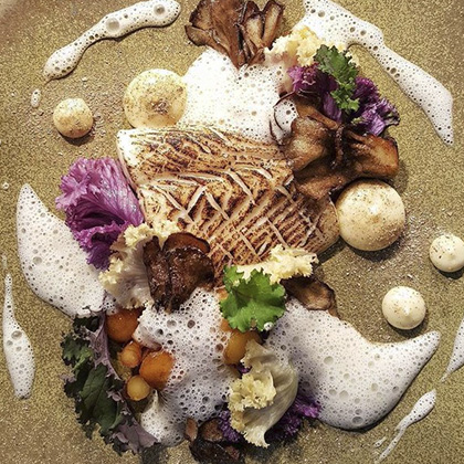 Fera Halibut with hen of the wood - Dan Cox