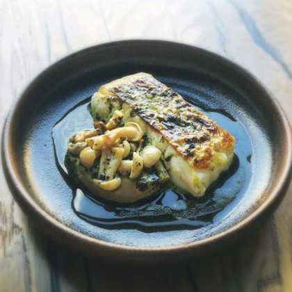 Roast Cornish hake, mushrooms with a seaweed and lime dressing - Tom Brown - Outlaw's at the Capital Hotel