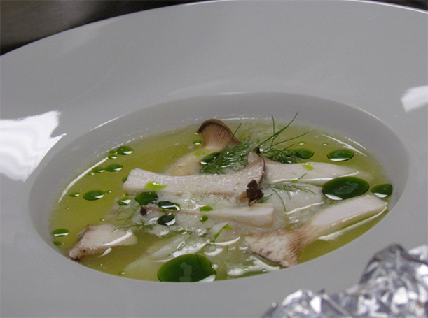 Sterling white halibut broth with eryngii and parsley oil